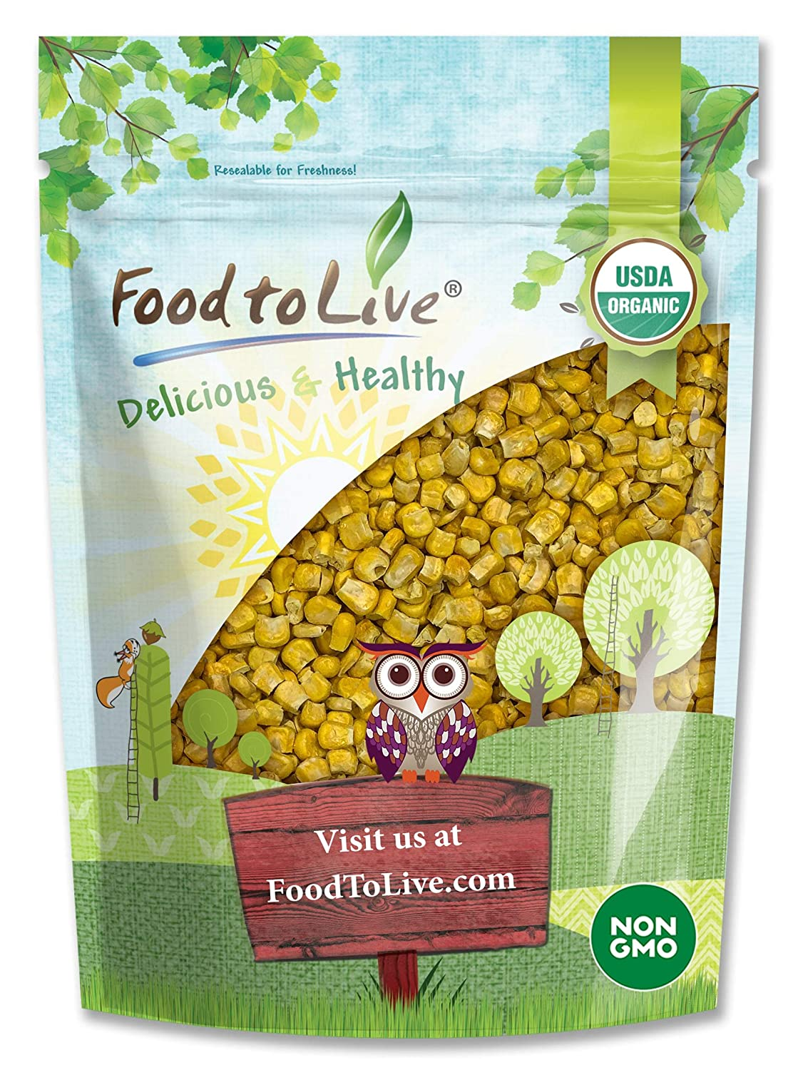 Organic Super Sweet Corn, 8 Ounces - Freeze-Dried Kernels, Non-GMO, Kosher, Raw, Healthy Snack, Bulk, Grown in the USA