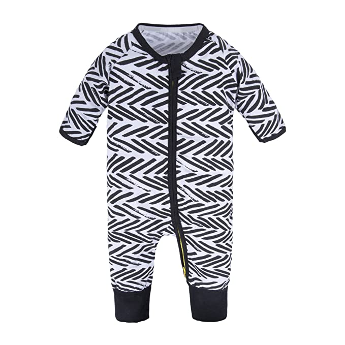 1ce3eb6d3ee BIG ELEPHANT Baby Boys 1 Piece Long Sleeve Sleepwear Graphic Print Zipper  Romper Black Zipper