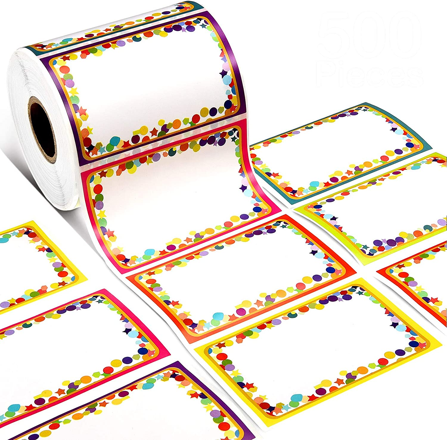 500 Pieces Confetti Name Tags Labels Colorful Name Tag Stickers Self-Adhesive Board Name Label Sticker for Kids Cloth, Teachers, Parties, School, Home, Office, Warehouses and Mailing