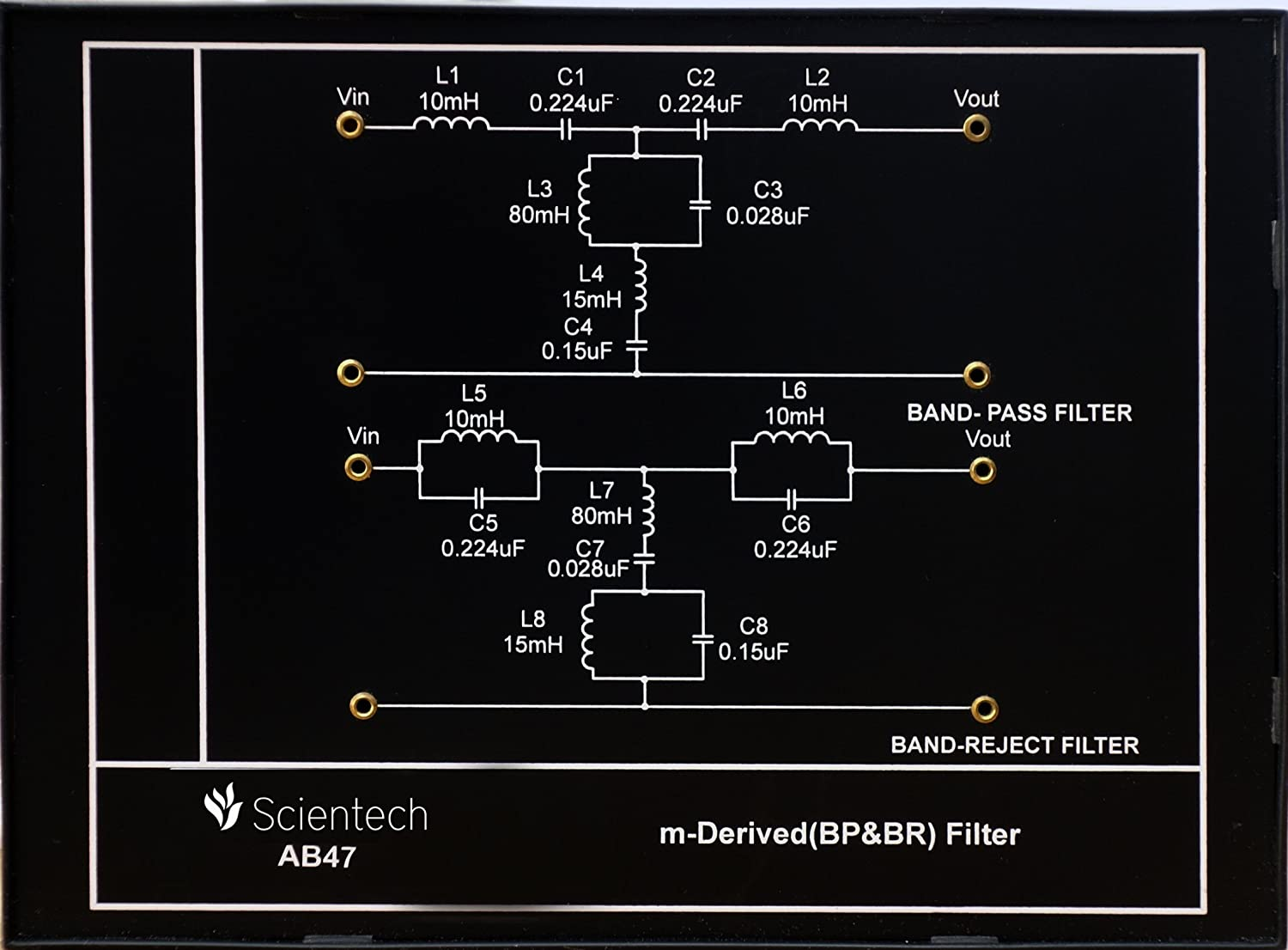 Ab47 M Derived Bp Br Filter Experiment Board And Trainer Kit Bandpass Band Reject A Circuit Is With 1 Year Warranty Without Power Supply