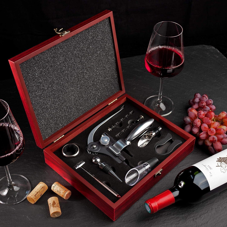 Idea de Regalo Original AMAVEL Set de 10 Accesorios de Vino para Sommelier Caja de Madera Incluida