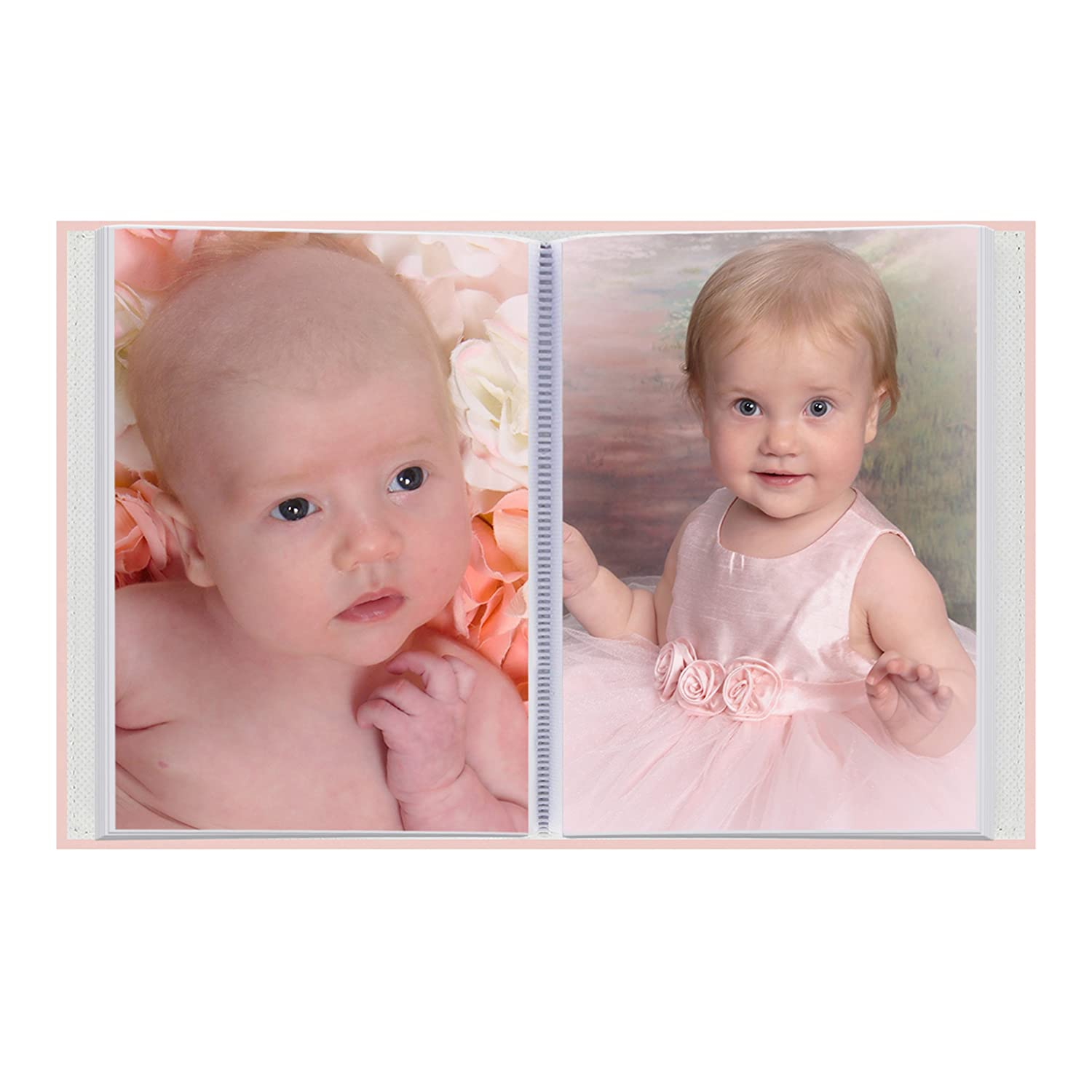 Baby Pink Pioneer Metal Button Baby Sewn Leatherette Cover Brag Album