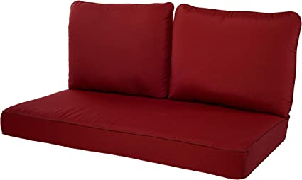 Amazon Com Quality Outdoor Living 29 Rd46lv 29 Rd02lv Loveseat Cushion 46 X 26 3pc Red Garden Outdoor