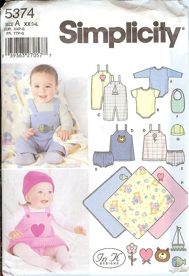 Simplicity Pattern 5374 ~ bebés \'Mono, Jumper, bragas, babero ...
