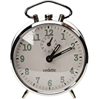 Vedette - VR70003 - Réveil - Mécanique Analogique - métal Chromé - Sonnerie Cloche - Répétition