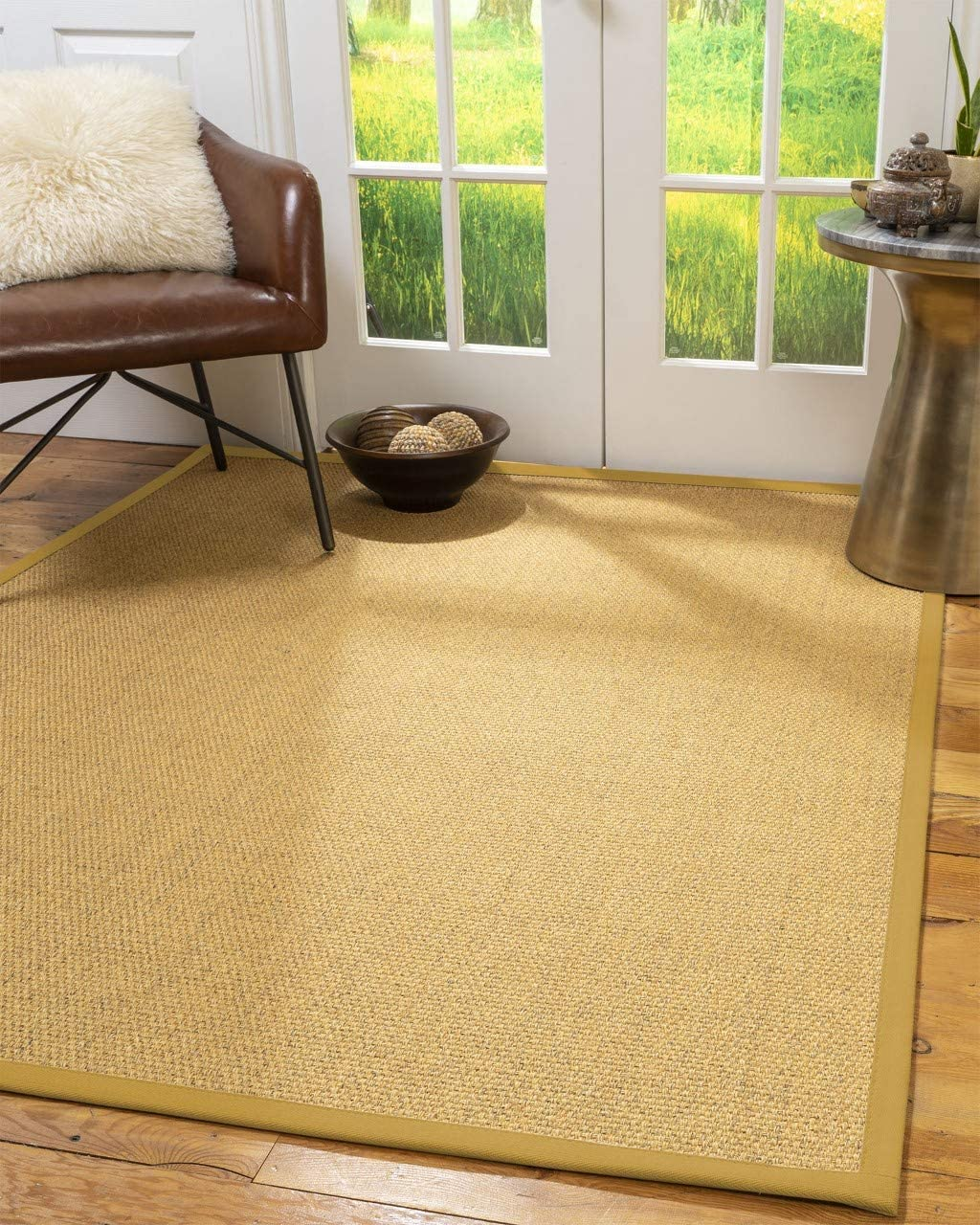 Natural Area Rugs Avondale, Beige Sisal Rug, 8 x 10 , Extra Wide Tan Border