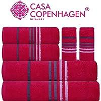 Casa Copenhagen - 450 GSM Egyptian Cotton Exotic 6 Pcs Towel Set - (1 King Size Bath Towel (75x150cm), 1 Medium Bath Towel (60x120cm), 2 Hand Towels (40x60cm), 2 Face Towels(30x30cm)