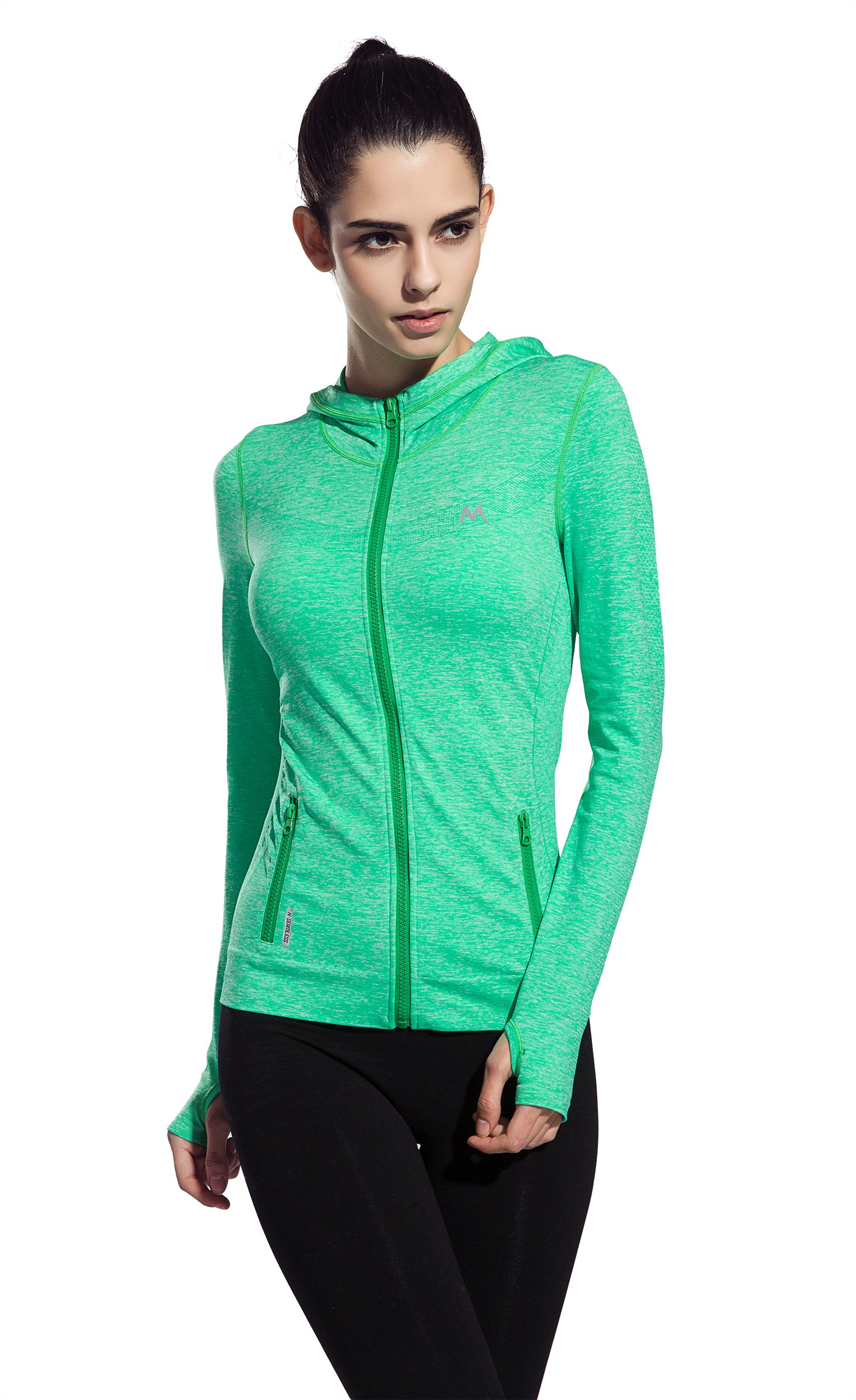 Women's Stretchy Workout Dri-Fit Hooded Jacket ( green, l)
