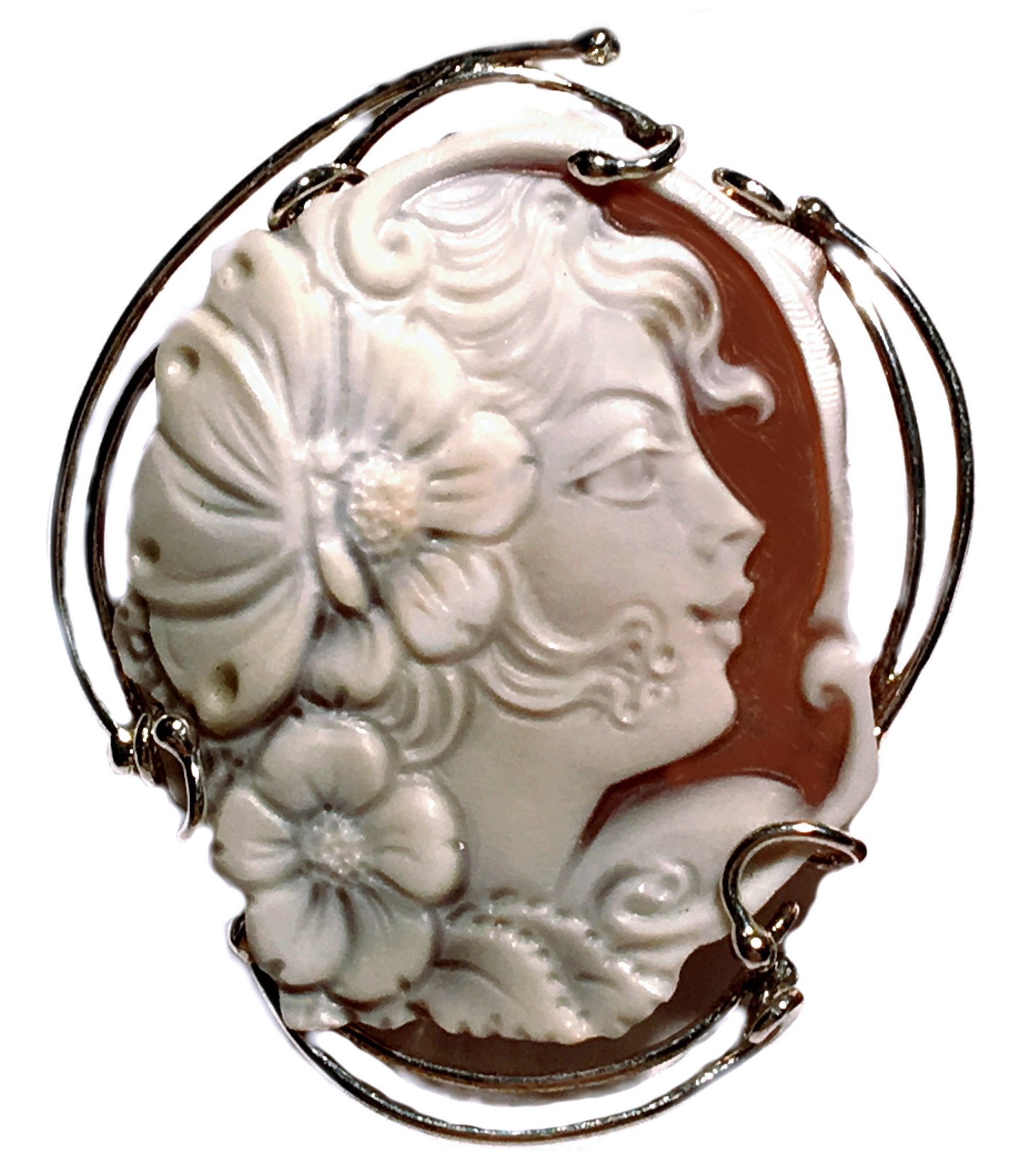 Cameo Pendant Summer Dream Sterling Silver Master Carved, Italian Sardonyx Shell