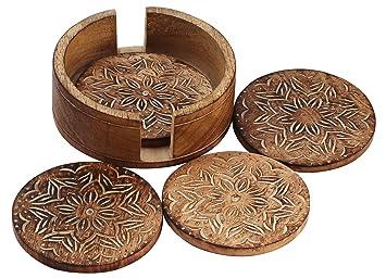VENTA HOY ÚNICAMENTE - AB Artesanías - Juego de 4 Mesas redondas de madera redondas hechas