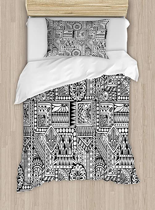 Amazon Com Bilagawa King Bedding Sets Doodle Duvet Cover Set Ethnic Design With Some Geometrical Shapes With Leaves And Dots African Culture Include 1 Comforter Cover 1 Bed Sheets 2 Pillow Cases Home Kitchen