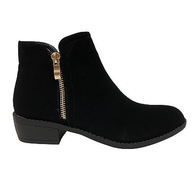 Love Mark Women's Essie-6 Side Zip Stacked Block Heel Boot Ankle Bootie | Ankle & Bootie