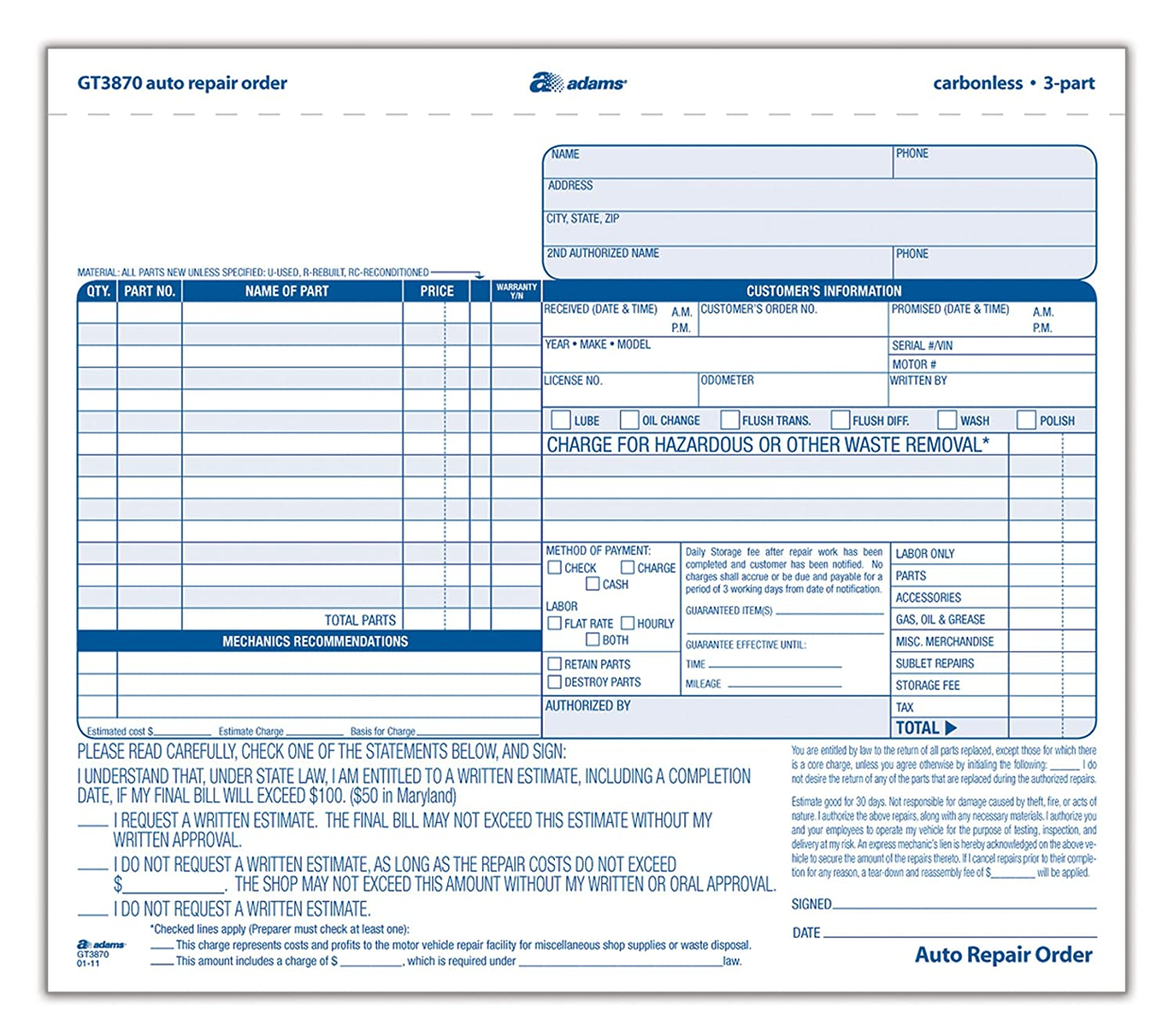 Amazon.com : Adams Auto Repair Order Forms, 8.5 X 7.44 Inch, 3 Part,  Carbonless, 50 Pack, White And Canary (GT3870) : Blank Receipt Forms :  Office Products  Auto Shop Invoice Template