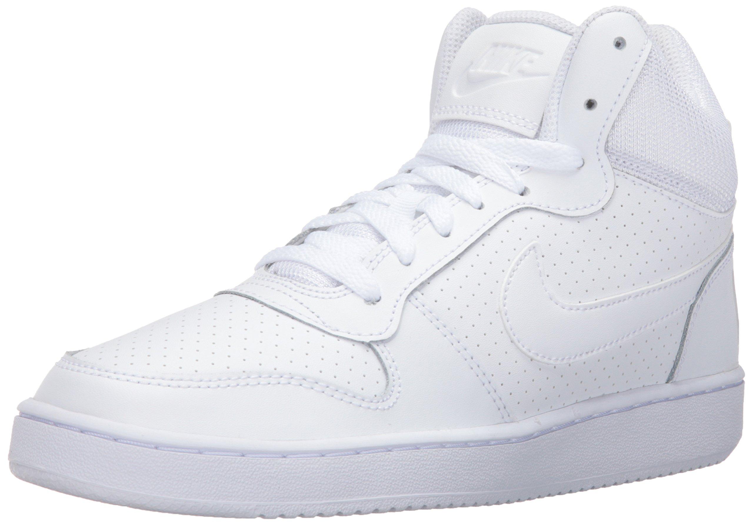 NIKE Women's Court Borough Mid Sneaker, White/White/White, 9.5 B(M) US