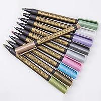 أقلام تحديد معدنية، مجموعة من 10 أقلام تلوين وتحديد بألوان متنوعة لصناعة البطاقات ودفتر القصاصات وألبوم صور اصنعها بنفسك…