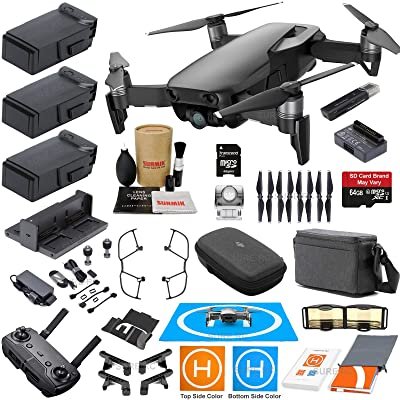 DJI Mavic Air Fly More Combo (Onyx Black) With 3 Batteries, 4K Camera Gimbal Bundle Kit with Must Have Accessories: Electronics