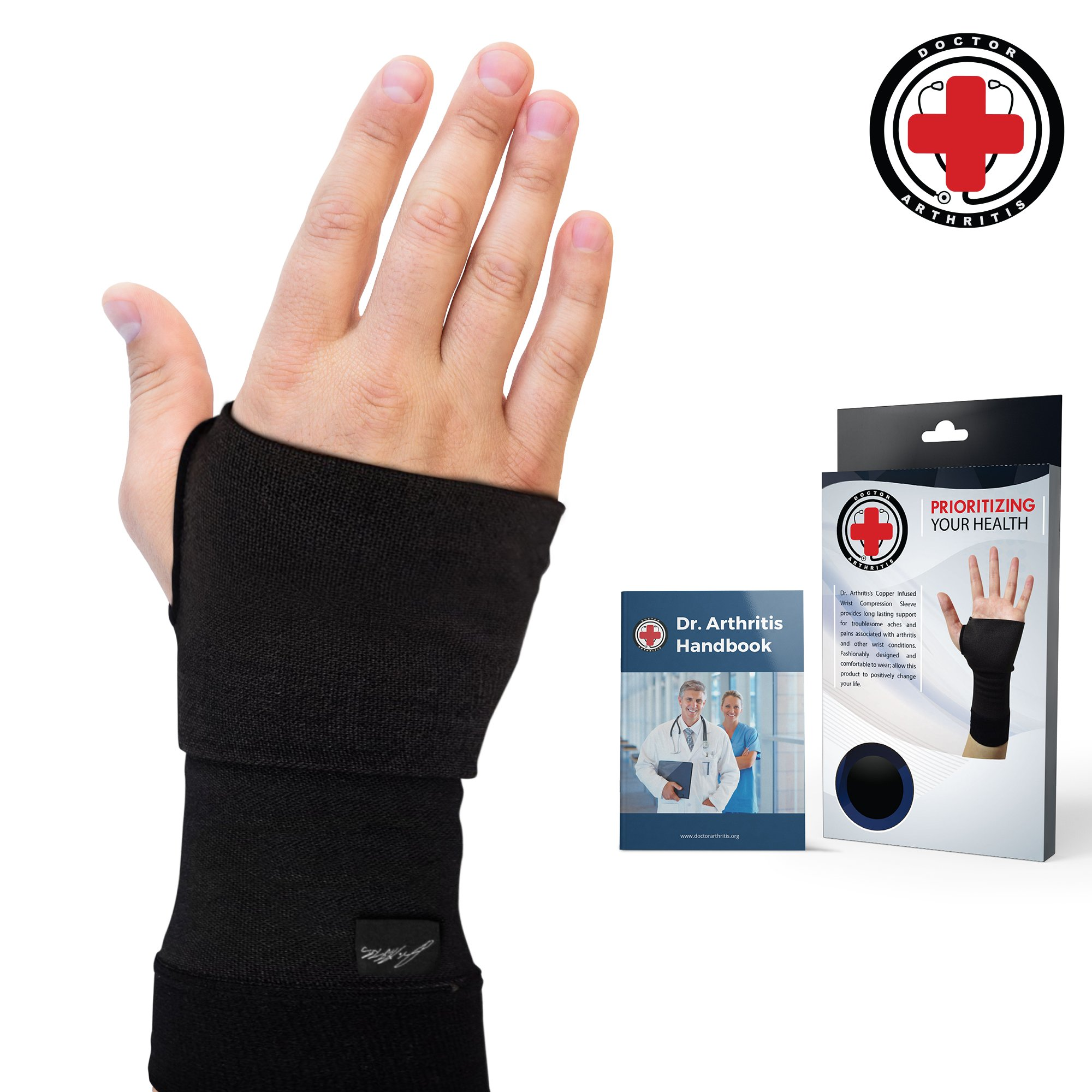 Doctor Developed Copper Infused Wrist Sleeve/Wrist Support/Wrist Brace/Wrist Compression Sleeve [Single] & Doctor Written Handbook— Relief for Wrist Injuries, Arthritis & More (S)