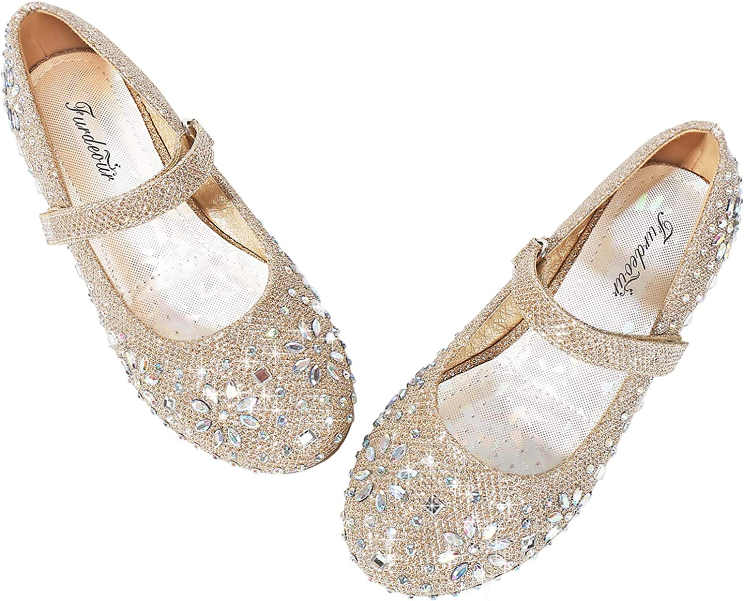Girls Glitter Rhinestone Mary Jane Ballet Flats* Pageant Shoes TODDLER