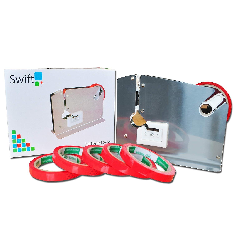 Stainless Steel Bag Neck Sealer | Tape Dispenser kit with 6 free Rolls: Amazon.es