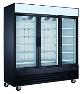 "Commercial Grade Merchandiser Refrigerator by Vortex Refrigeration | 3 Self-Closing Doors | Fog Resistant Glass | 72 Cu. Ft. | 12 Adjustable Shelves | For Restaurants | 78.3"" x 30"" x 80.7"" 
