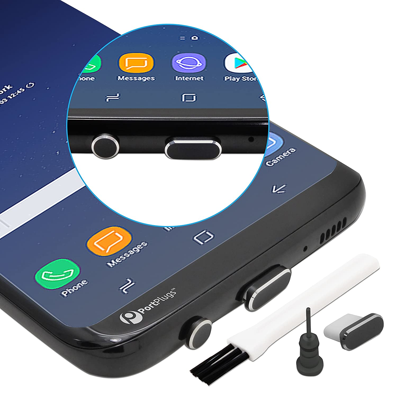 PortPlugs - USB C Dust Plug Set - Compatible with Samsung s10, s9, s8, Note - Aluminum Charging Port and Headphone Jack - Includes Holders and Cleaning Brush (Black)