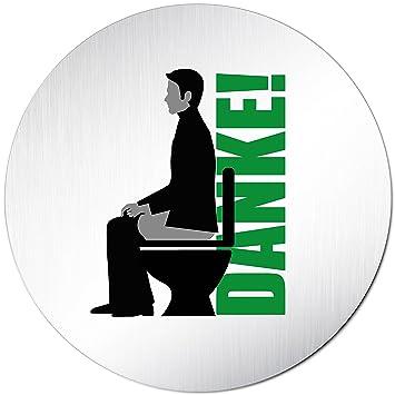 Kinekt3d Leitsysteme Toiletten Rund 100mm /Ø eloxiert Hinweisschild Bitte im Sitzen pinkeln Nicht im Stehen pinkeln Aluminium WC Schild