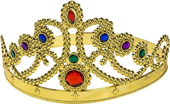 CoverYourHair Plástico corona de la reina Con Joyas - Su Majestad la Reina de la Corona Plástico En Oro Con Joyas de colores: Amazon.es: Juguetes y juegos