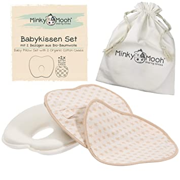 Amazon.com: Juego de almohada para bebé de cabeza plana, 2 ...
