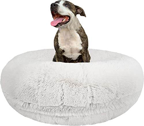 Bessie and Barnie Signature Snow White Luxury Shag Extra Plush Faux Fur Bagel Pet Dog Bed Multiple Sizes