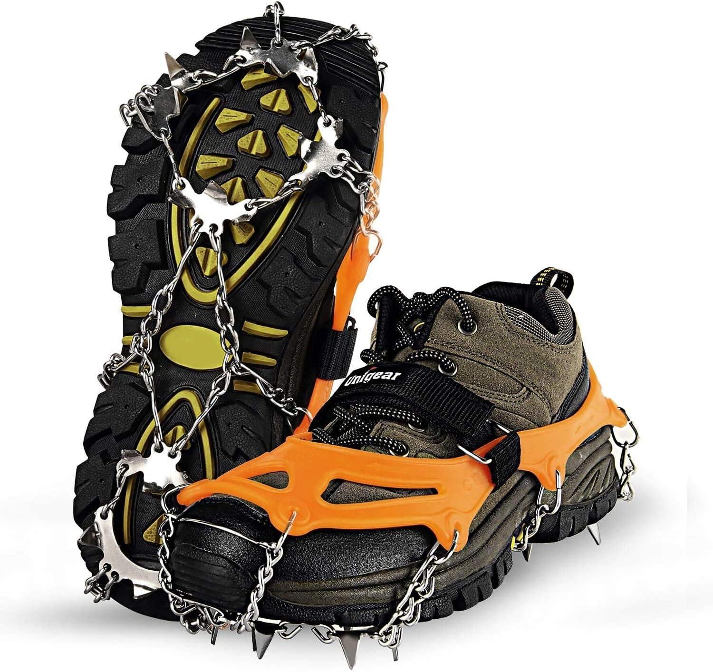 Schuhkrallen Eisspikes Gr/ödel und Spikes f/ür Klettern Bergsteigen Trekking High Altitude Winter Outdoor Schneekette mit 18 Z/ähnen Unigear Steigeisen f/ür Bergschuhe Schwarz XL