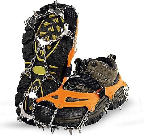 Unigear Crampones Ligero de Nieve Hielo 18 Puntas Dientes De Acero Zapatos Antideslizante para Cámping Alpinismo Acampada Senderismo Marcha Invierno: Amazon.es: Deportes y aire libre