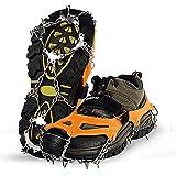 Unigear Crampones Ligero de Nieve Hielo 18 Puntas Dientes De Acero Zapatos Antideslizante para Cámping Alpinismo…