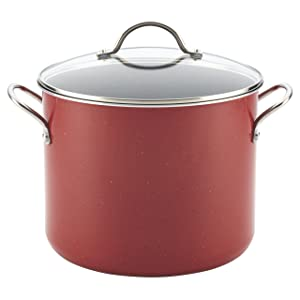 Farberware New Traditions Speckled Aluminum Nonstick 12-Quart Covered Stockpot, Red