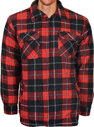 Camisa de trabajo de tela polar para hombre, con forro suave y acolchado, a cuadros, estilo leñador: Amazon.es: Ropa y accesorios