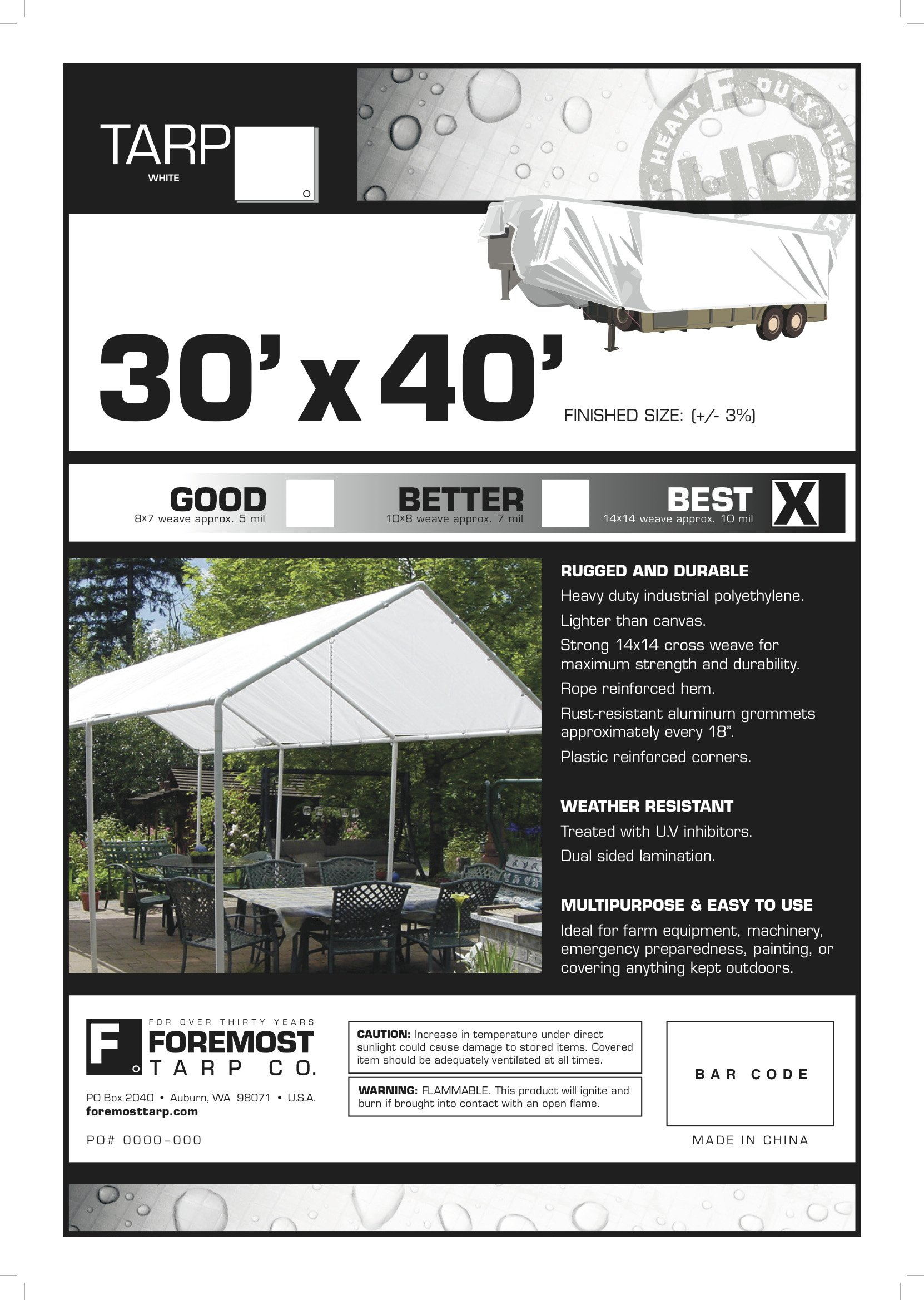 30' x 40' Dry Top Heavy Duty White Full Size 10-mil Poly Tarp item #330403 by DRY TOP