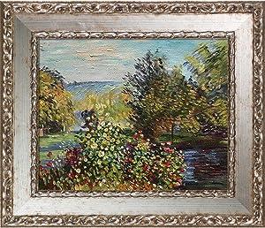 "La Pastiche Corner of The Garden at Montgeron by Claude Monet Oil Painting, 8"" x 10"", Versailles Silver Salon Frame"