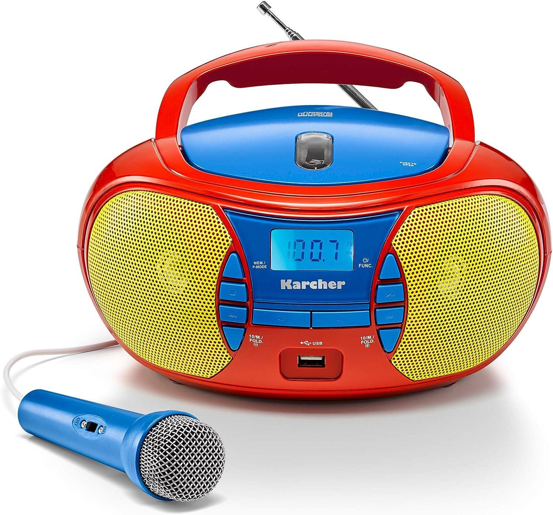 Karcher Rr 5026 Tragbares Cd Radio Bunte Kinder Boombox Mit Cd Player Ukw Radio Usb Mikrofon Batterie Netzbetrieb Heimkino Tv Video