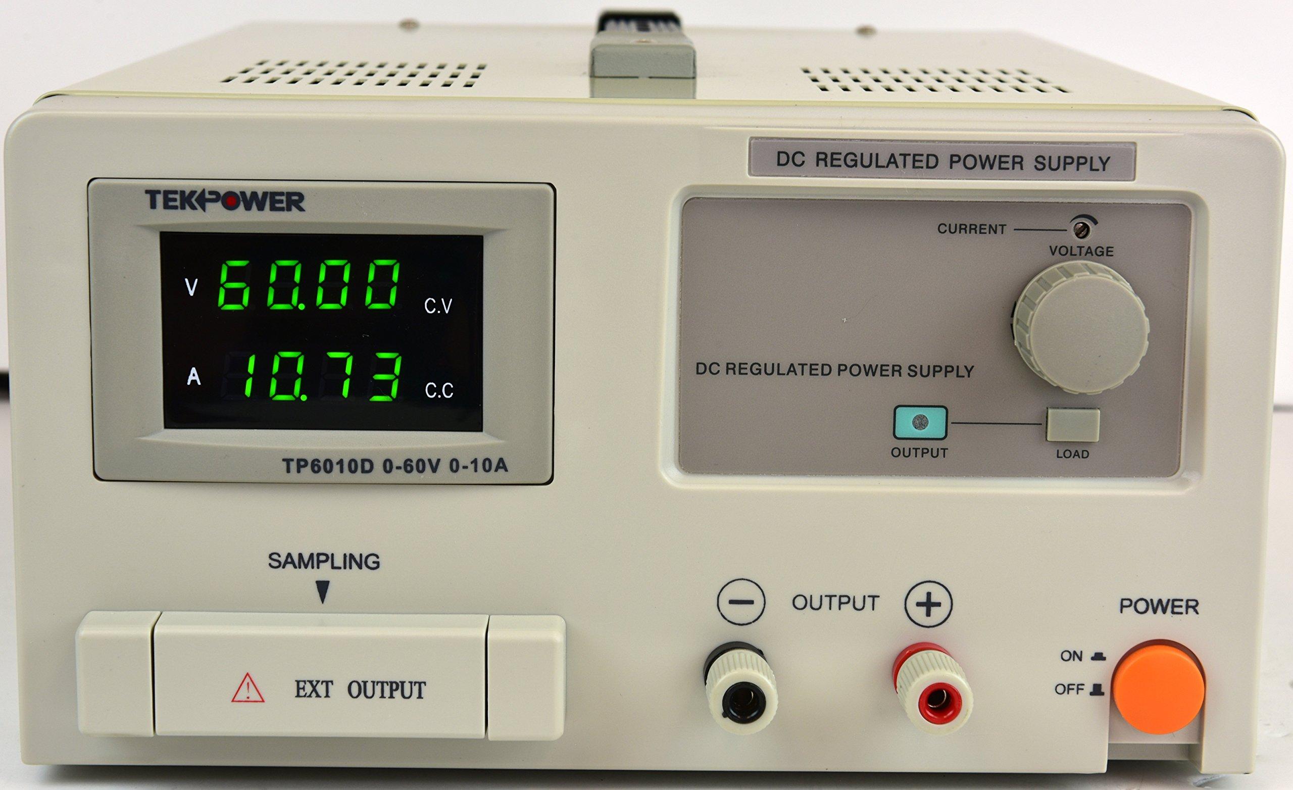 TekPower TP6010D DC Adjustable Regulated Linear Power Supply, Transformer Type Clean Power Source (60Volt/ 10A), Better than Mastech, TP3005D,HY3005D