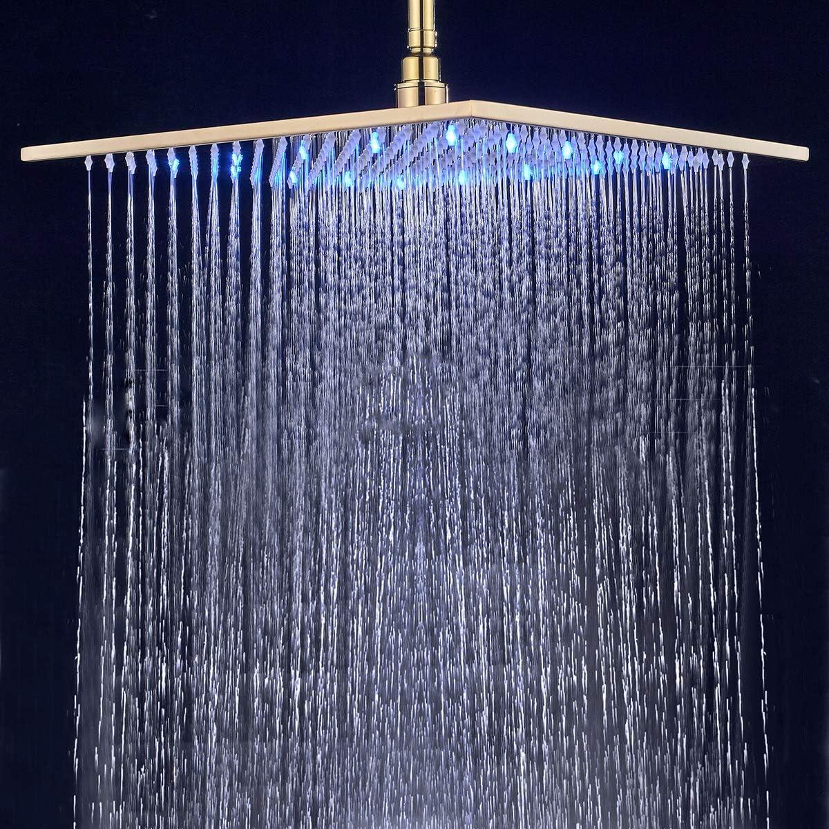 Lujo de ducha de lluvia Ducha techo ducha cuadrado /überkopfbrause Slimline farbew elchseln seg/ún temperatura suguword 40/* 40/cm LED empotrable