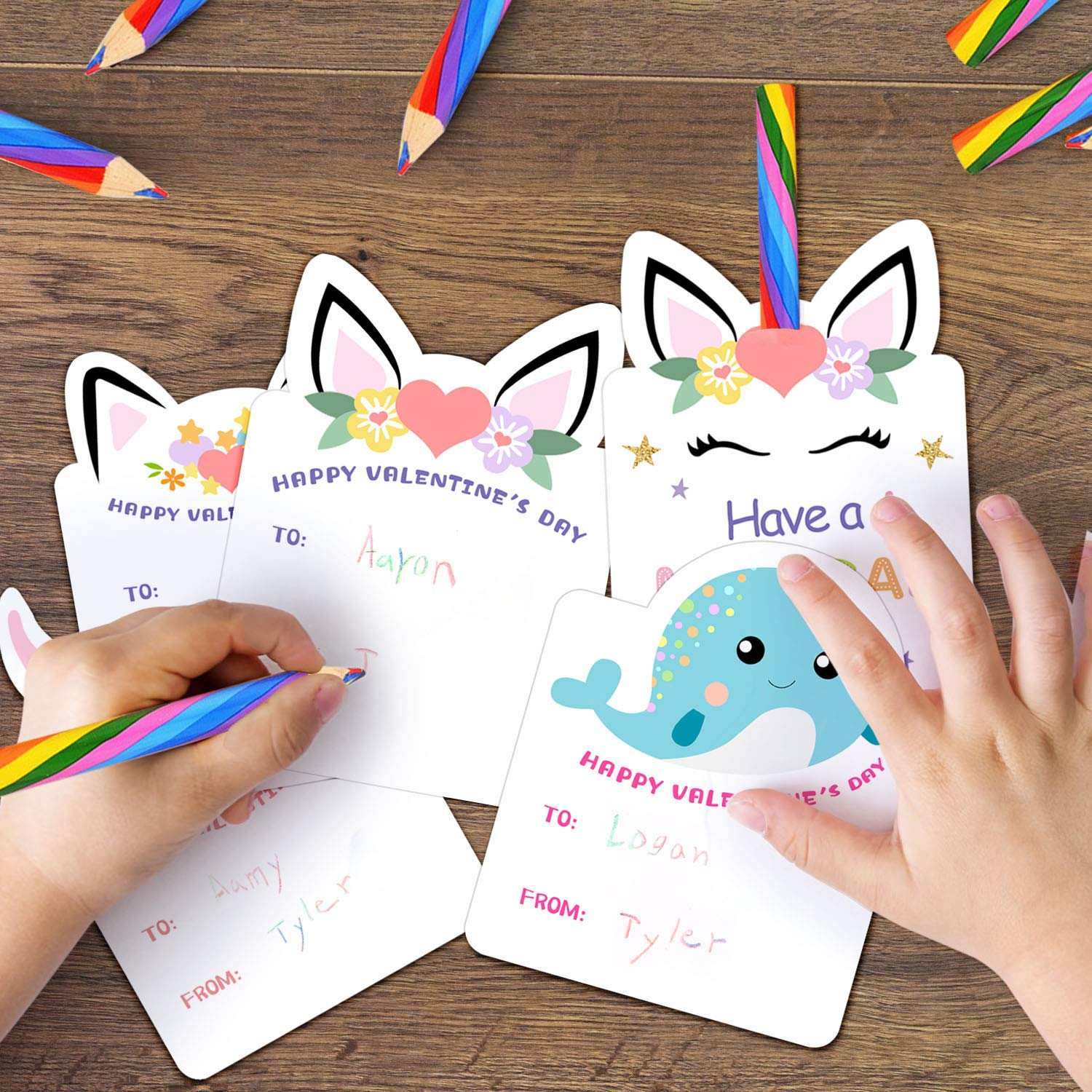 Valentines Day Cards for Kids Class Party Favors Valentine day cards Exchange Bulk for Girls Boys School Classroom Supplies Set of 24 Rainbow Pencils Unicorn Valentines