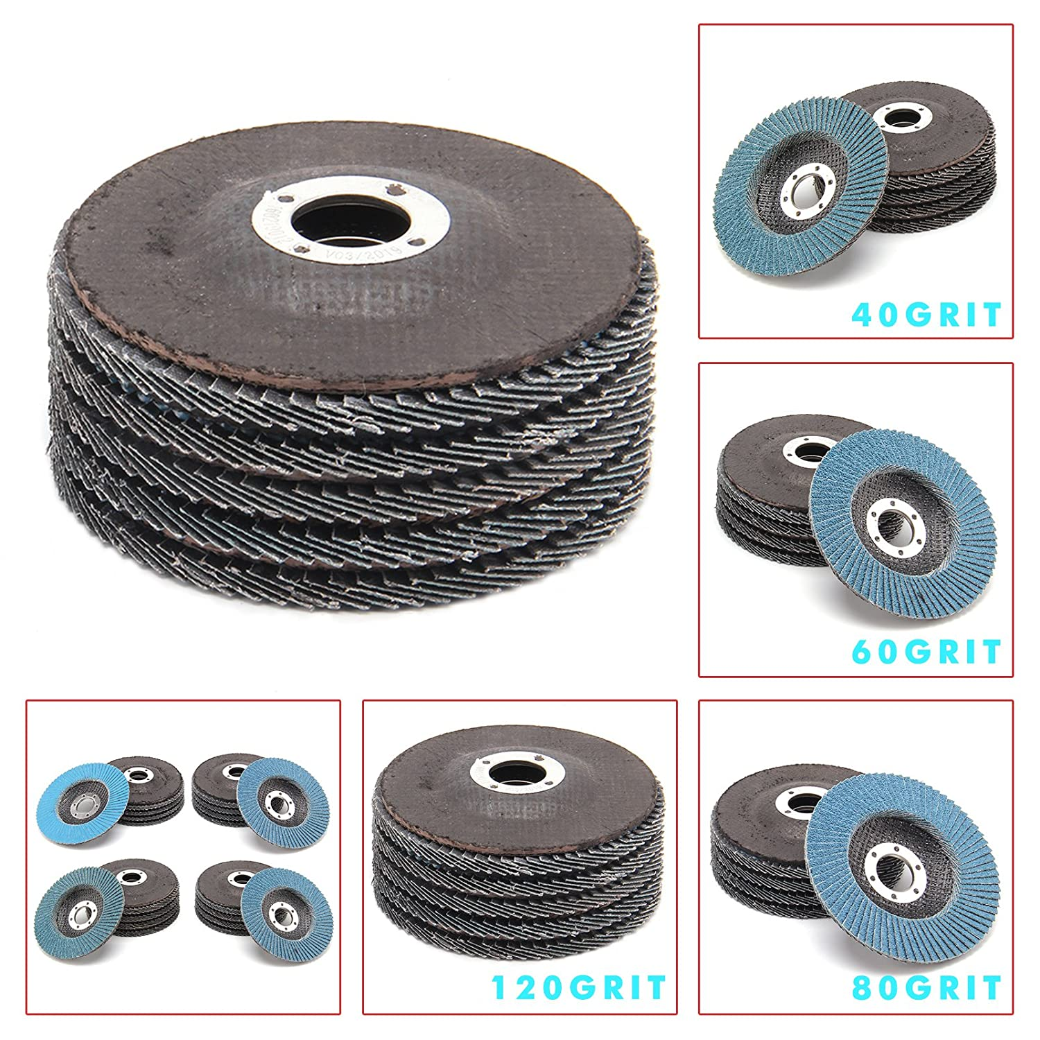 MultiWare 20 x Flap Discs 115mm 4.5' 40 60 80 120 Grift For Sanding Cleaning Stainless oem