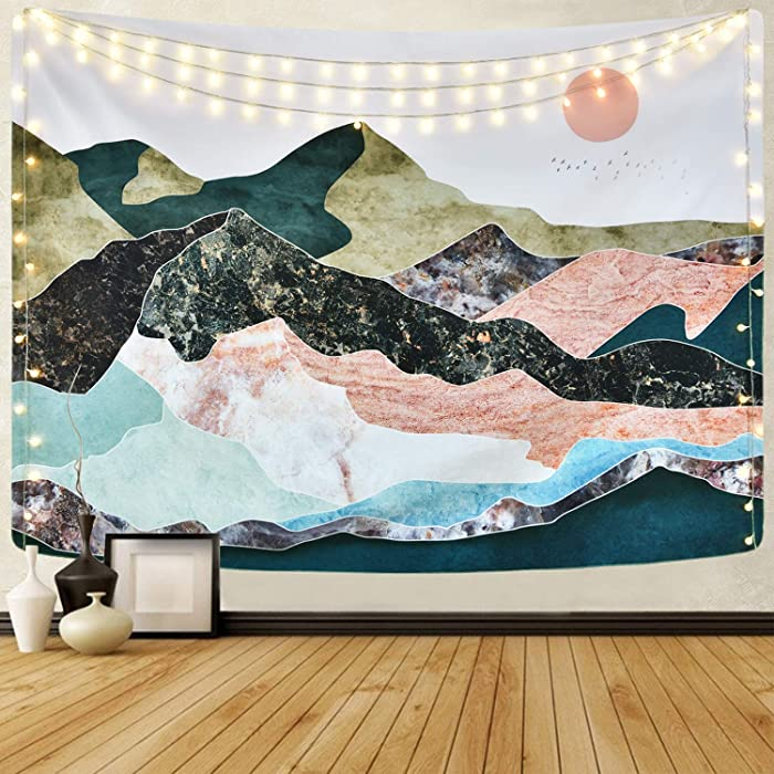 Mountain Sunset Tapestry Colorful Mountain Tapestry Nature Landscape Tapestry for Room(70.9 x 92.5 inches)