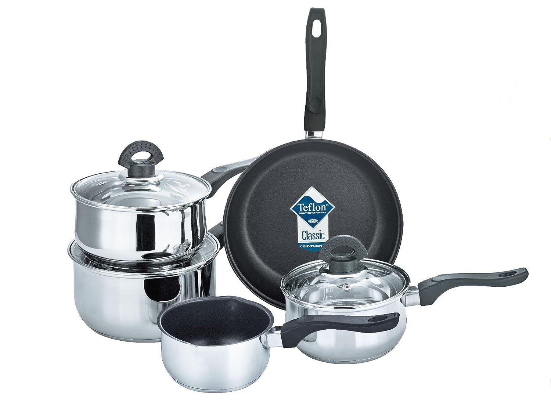 Buckingham Set of Five Cookware ( Saucepans 16 cm/ 1.6 L, 18 cm/ 2.3 L, 20 cm / 3.2 L), Milk Pan 14 cm/ 0.9 L and Sauté Pan 24 cm/ 2.6 L with Non- Stick Coating. B&i International 19061