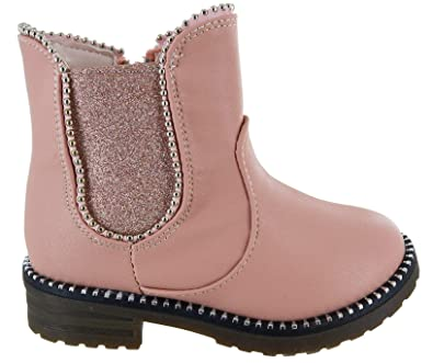 Kids Girls Childrens Ankle Black School Shoes Dealer Chelsea