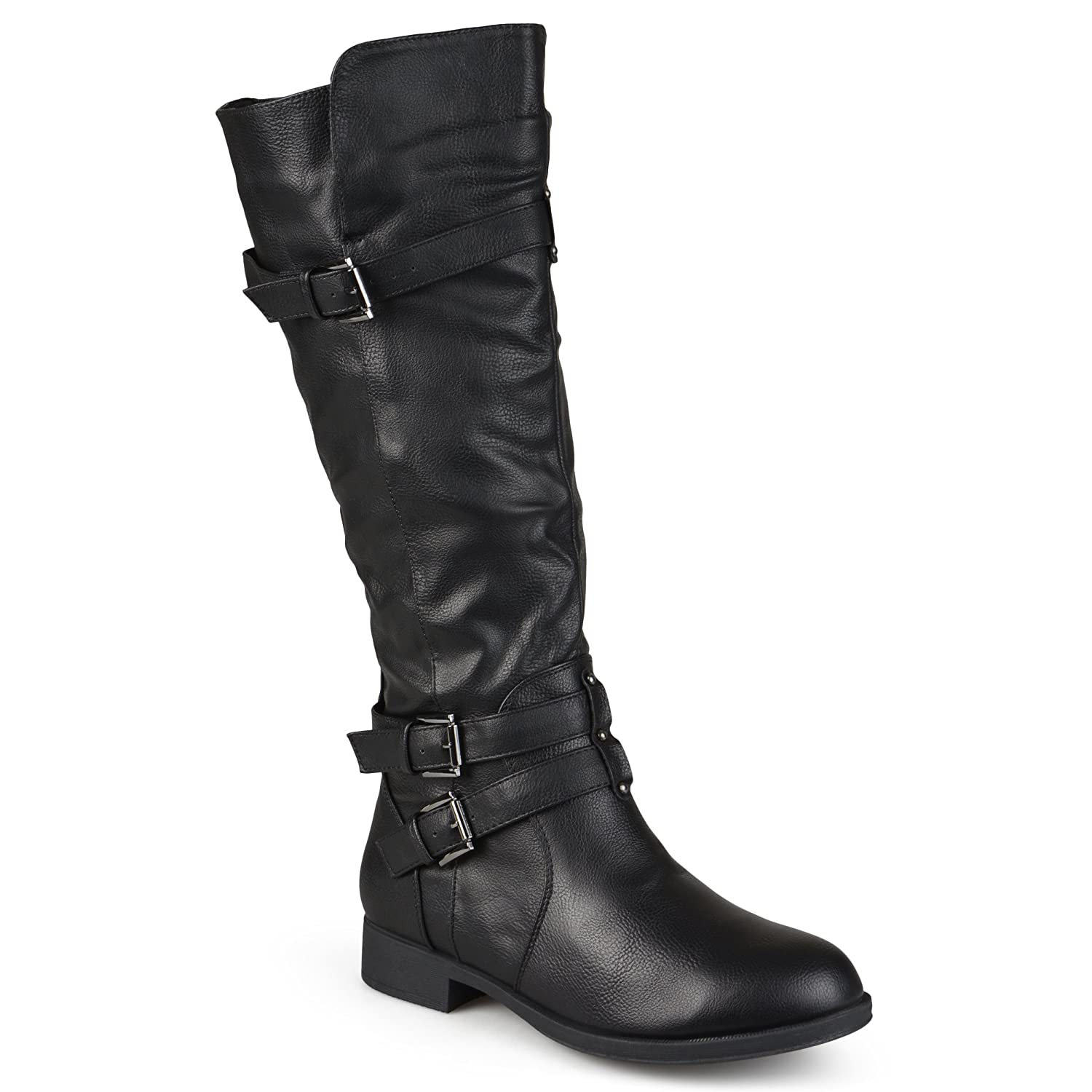 02058bc5e Amazon.com | Journee Collection Womens Regular Sized and Wide-Calf Knee-High  Buckle Riding Boot | Mid-Calf