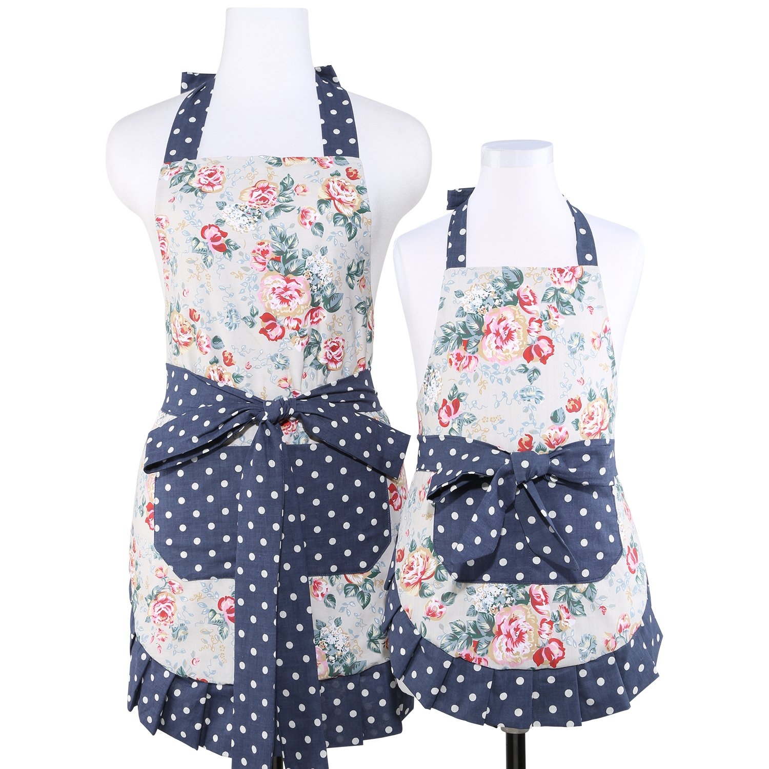 Neoviva Frilly Girl Apron Set for Mama and Me with Pocket, Lining Applied, Style Kathy, Floral Quarry Bloom