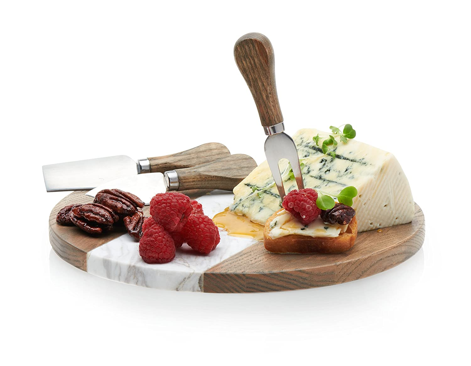 Prologue Wood and Marble Cheese Board with 3 Wood-handled Cheese Knives Distributed by Libbey
