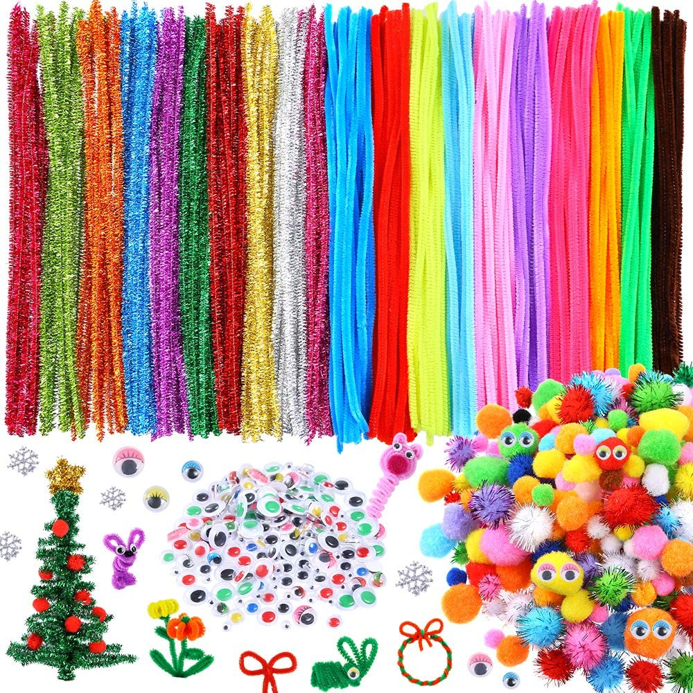Fluffy Pompoms Toy Eyes. 100Pcs 10-Colors Chenille Stems Craft Pipe Cleaners