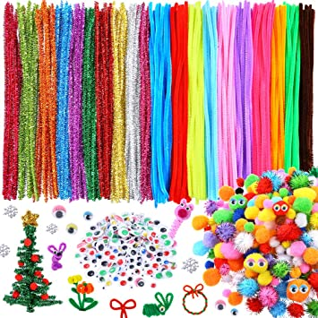 150 Fluffy Pompoms 100 Toy Eyes US 100pcs Chenille Stems Craft Pipe Cleaners