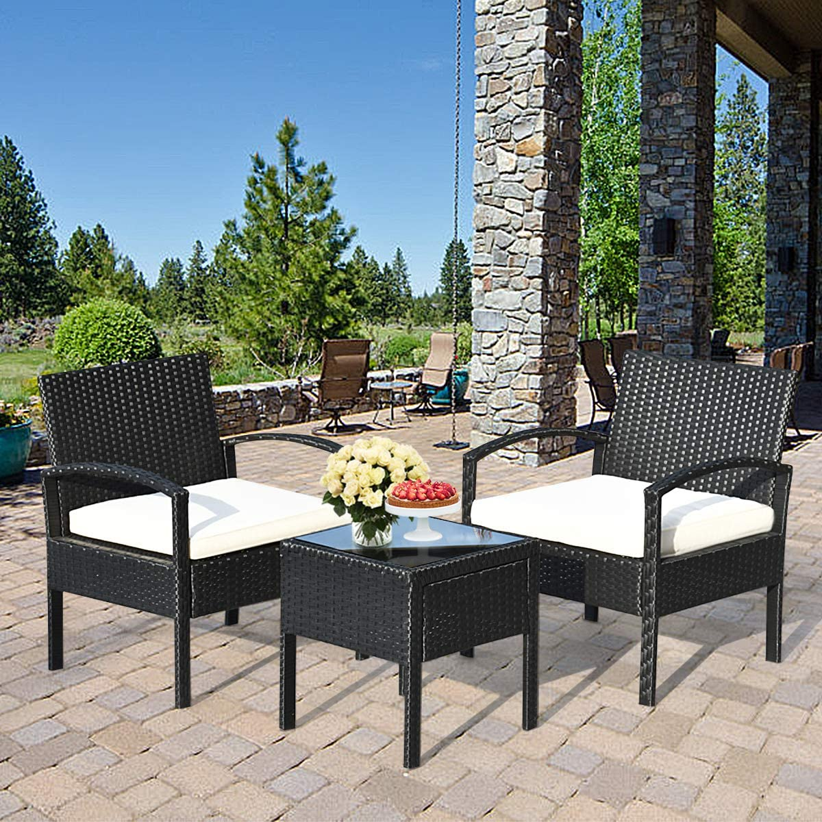 Tangkula AM0583HM 3 Piece Patio Furniture Set with 2 Cushioned Chairs & End Table, Black: Garden & Outdoor